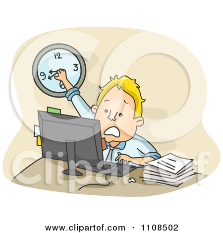 Clipart Stressed Businessman Turning The Clock Back While Racing.