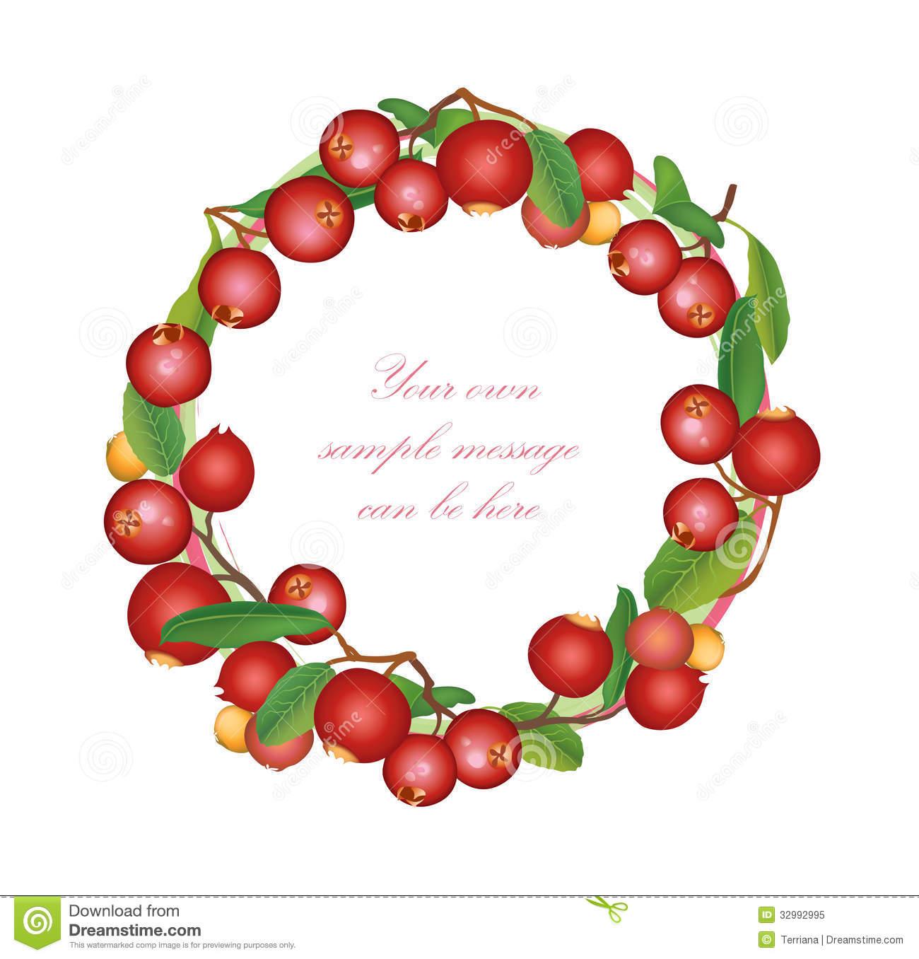 Cranberry Bough Garland Clipart.