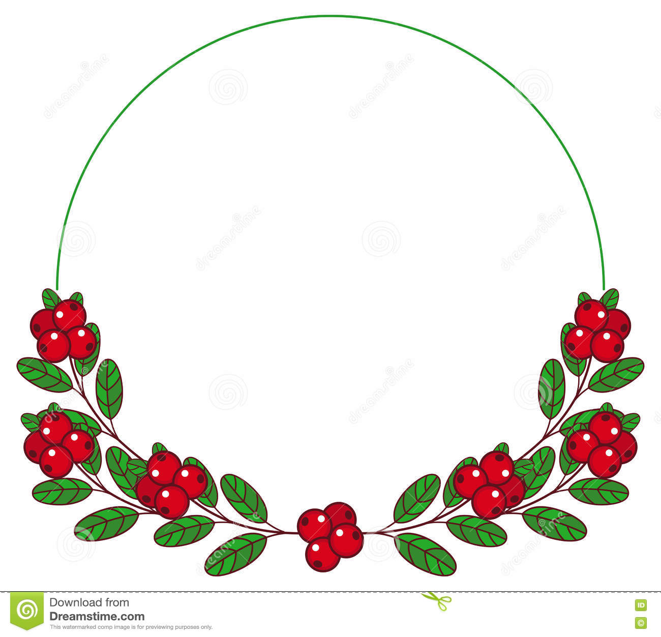 Round Frame With Cranberries With Free Space For Text. Stock.