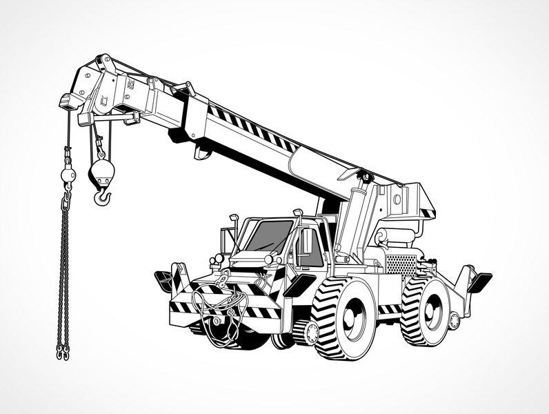 Mobile crane clipart.