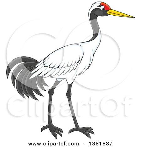 Clipart of a Walking Crane Bird.
