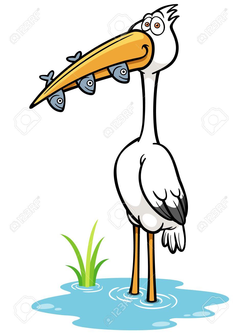 Vector Illustration of Crane Bird eating fish.