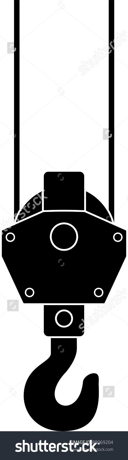Vector Hook Crane Hoist Illustration Isolated Stock Vector.