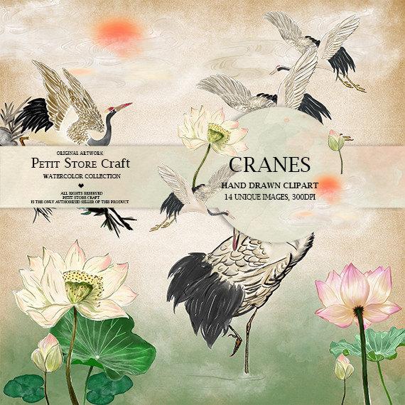 Cranes Clip Art Red.