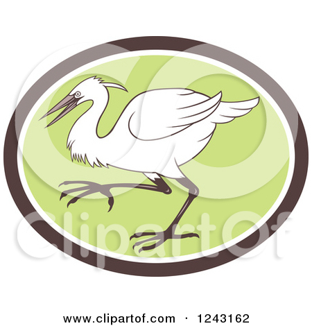 Clipart of a Retro Egret Heron or Crane Bird in a Green Oval.