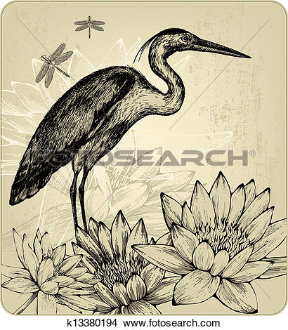 Clipart of Background with blooming water lilies, bird herons and.