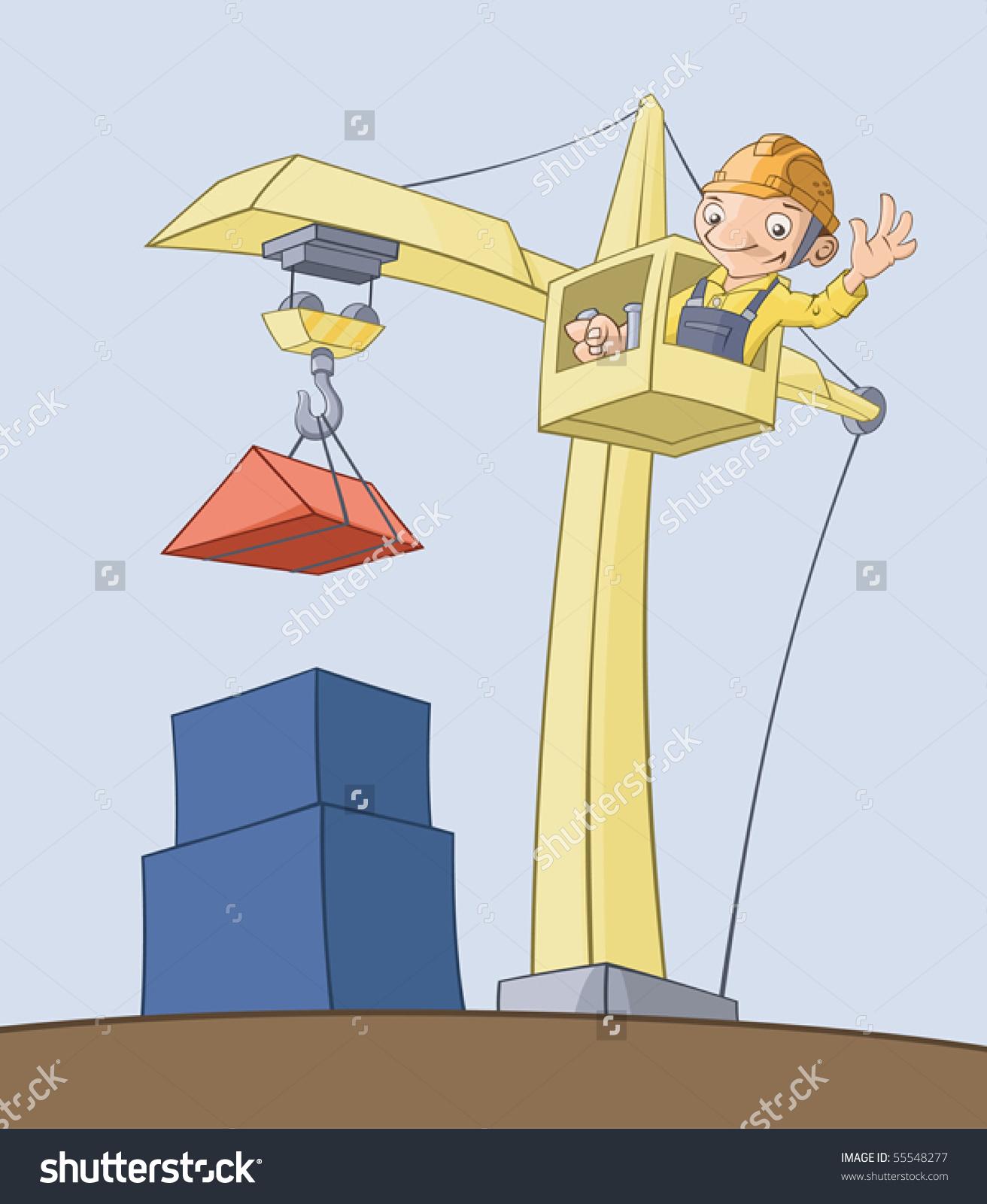Worker On Crane Lifts Cargo Stock Vector 55548277.