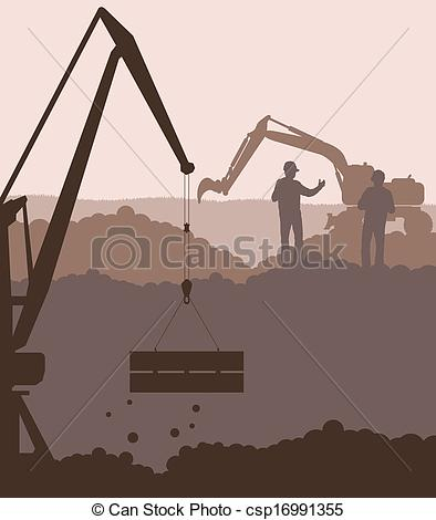 Clipart Vector of Excavator loader and crane at construction site.