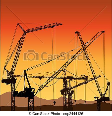 Clip Art Vector of Tower Cranes.