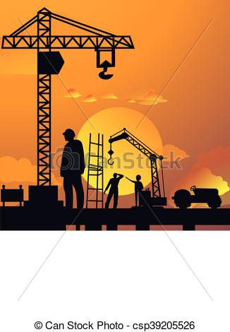 Vector Illustration of silhouette of man working on construction.