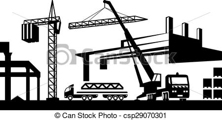 Vector Clipart of Installing crane on site.