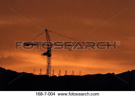 Stock Photo of Construction, Construction, Crane, Site, Sunset.