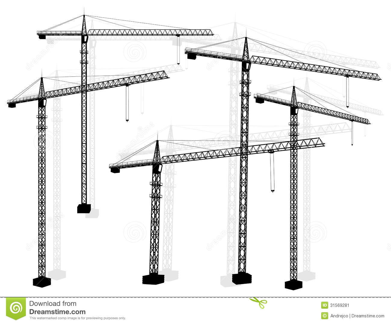 Silhouettes Construction Crane Tower Stock Illustrations.