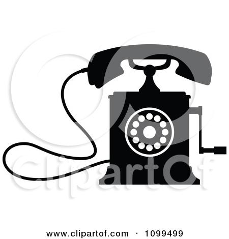Clipart Retro Black And White Desk Crank Telephone.