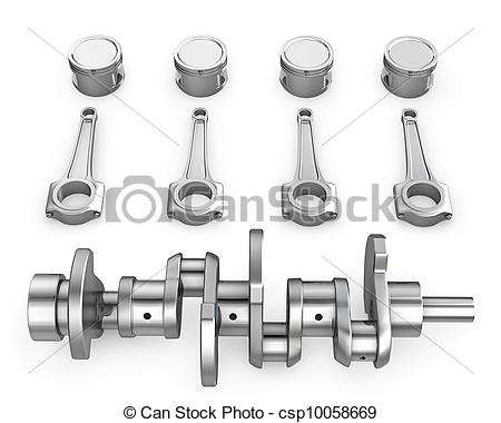 Stock Illustration of Crankshaft, pistons and connecting rods.