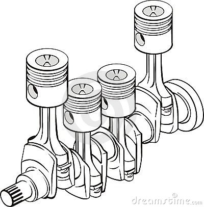 Crankshaft With Connecting Rod Piston Group Stock Vector.