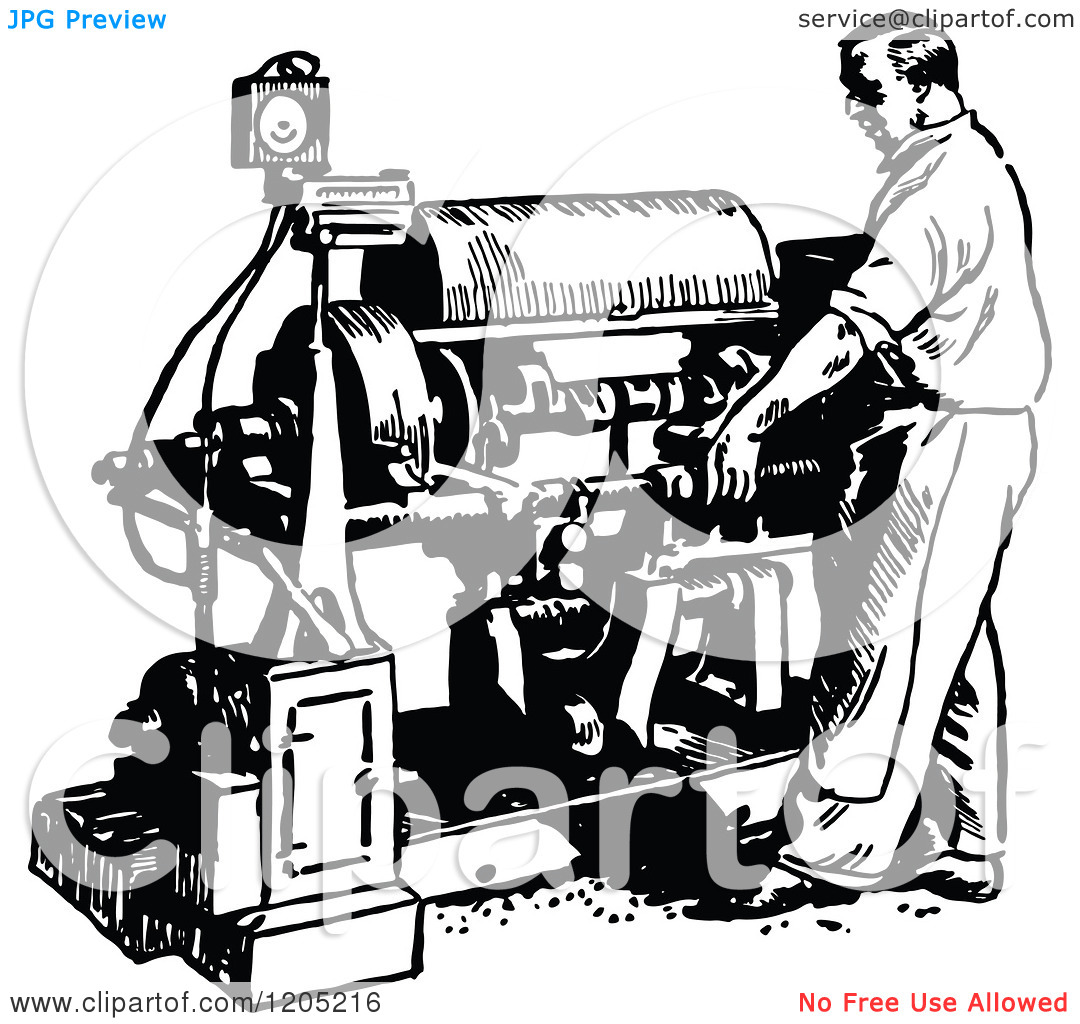 Clipart of a Vintage Black and White Man Operating a Crankshaft.