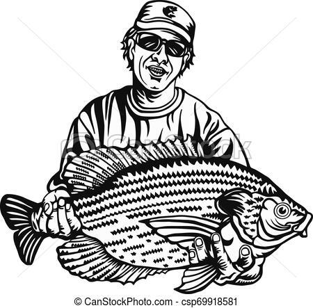 Fisherman and Crappie fish.