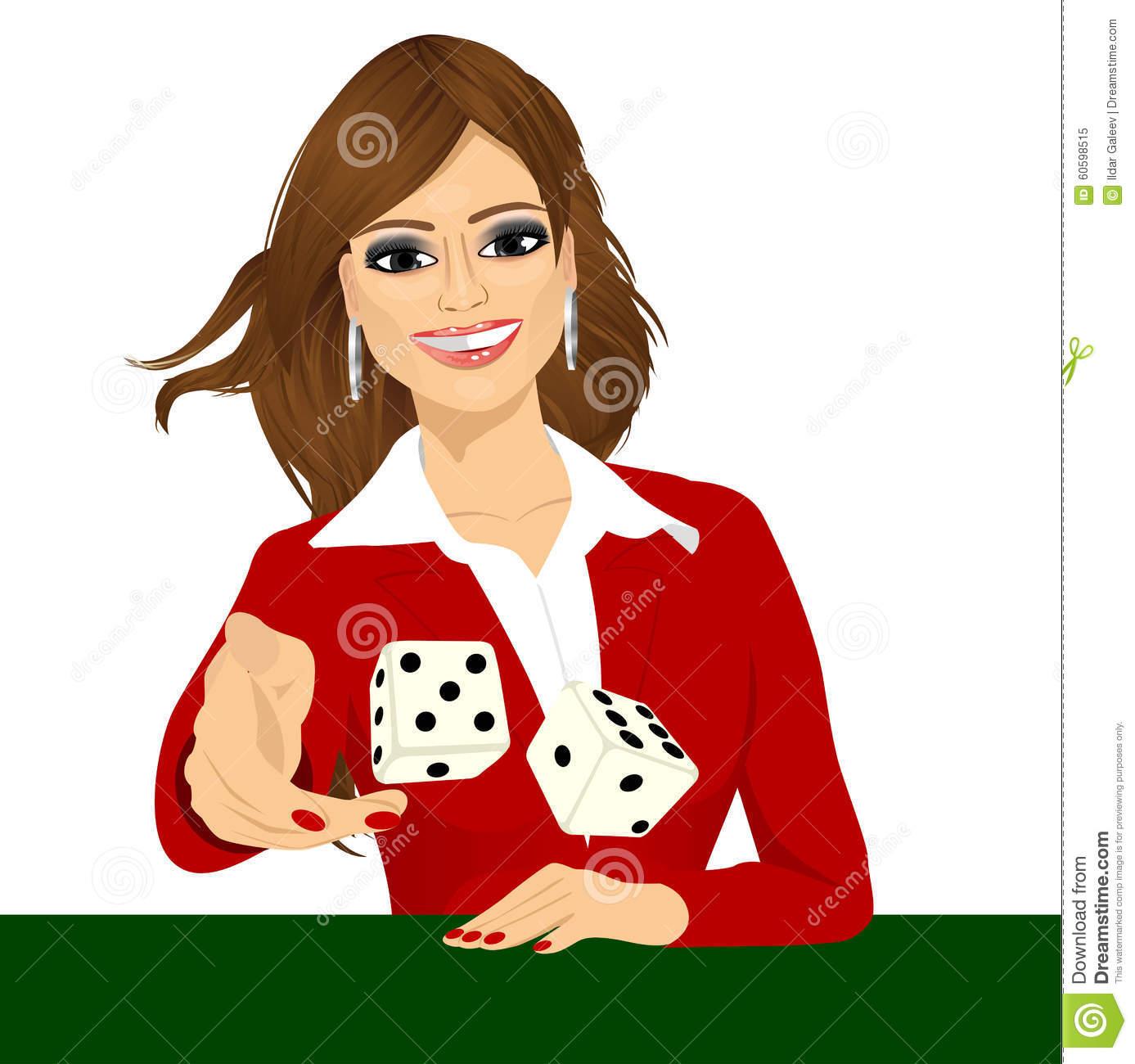 Woman Throwing The Dice Gambling Playing Craps Stock Vector.