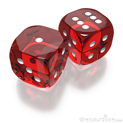 Shooting Craps Or Dice On Green Felt Background Stock Image.