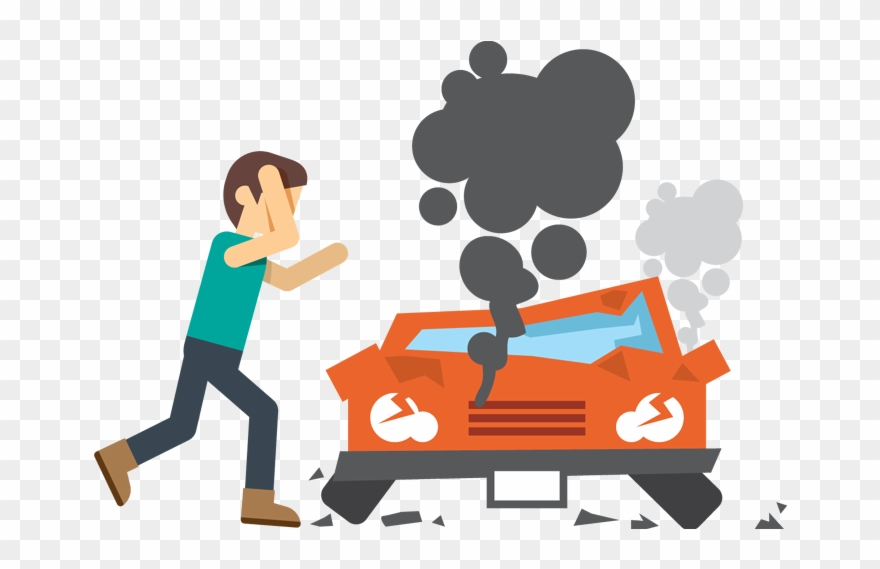 Cartoon Adult Upset Man In Front Of Crash Car.