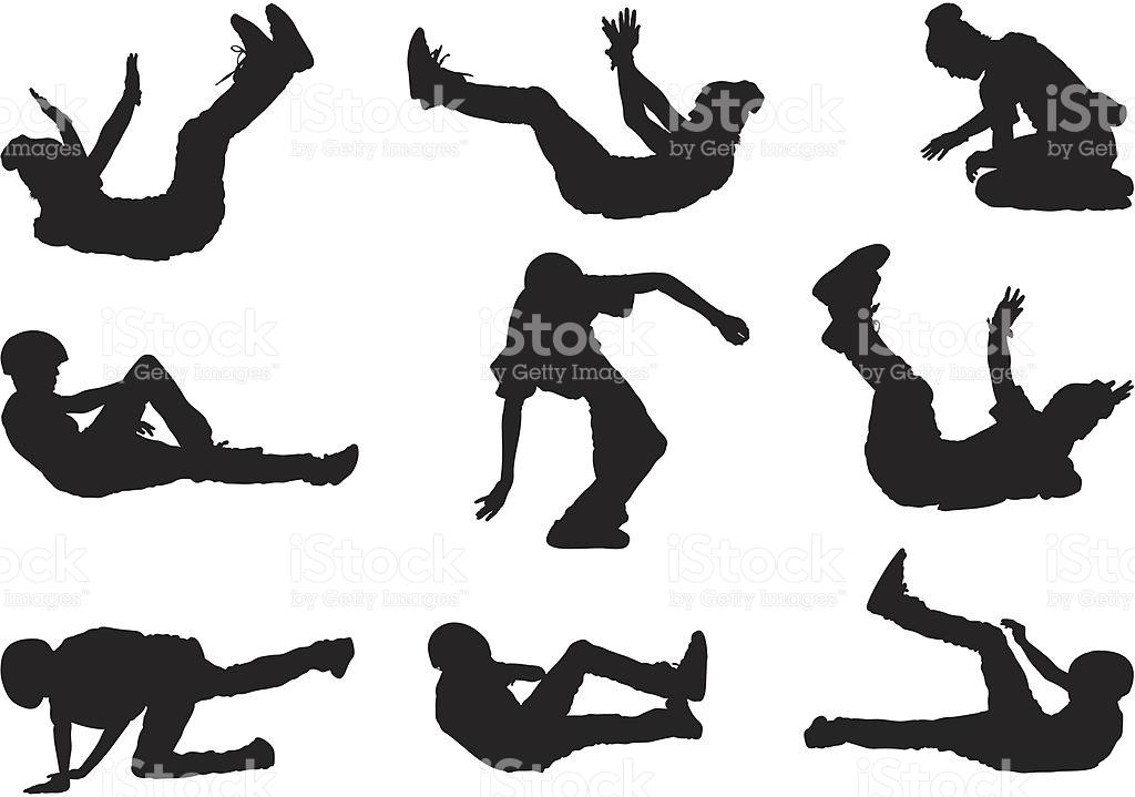 Skateboarders Falling Crash Landing stock vector art 165743046.