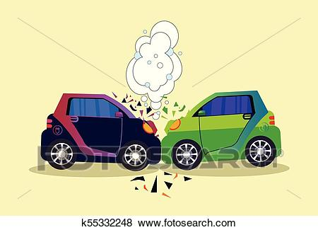 Crashed Cars Scene Isolated Accident On Road Concept Clip Art.