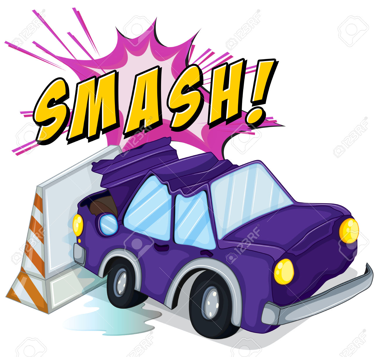 Crashed car into wall clipart.
