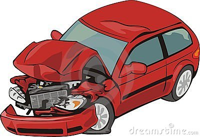 Red car crashed clipart.