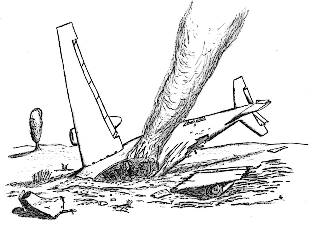 easy plane crash drawing by OCv9 on Clipart library.