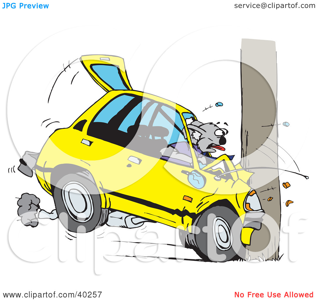 Clipart Illustration of a Koala Crashing Their Car Into A Pole by.