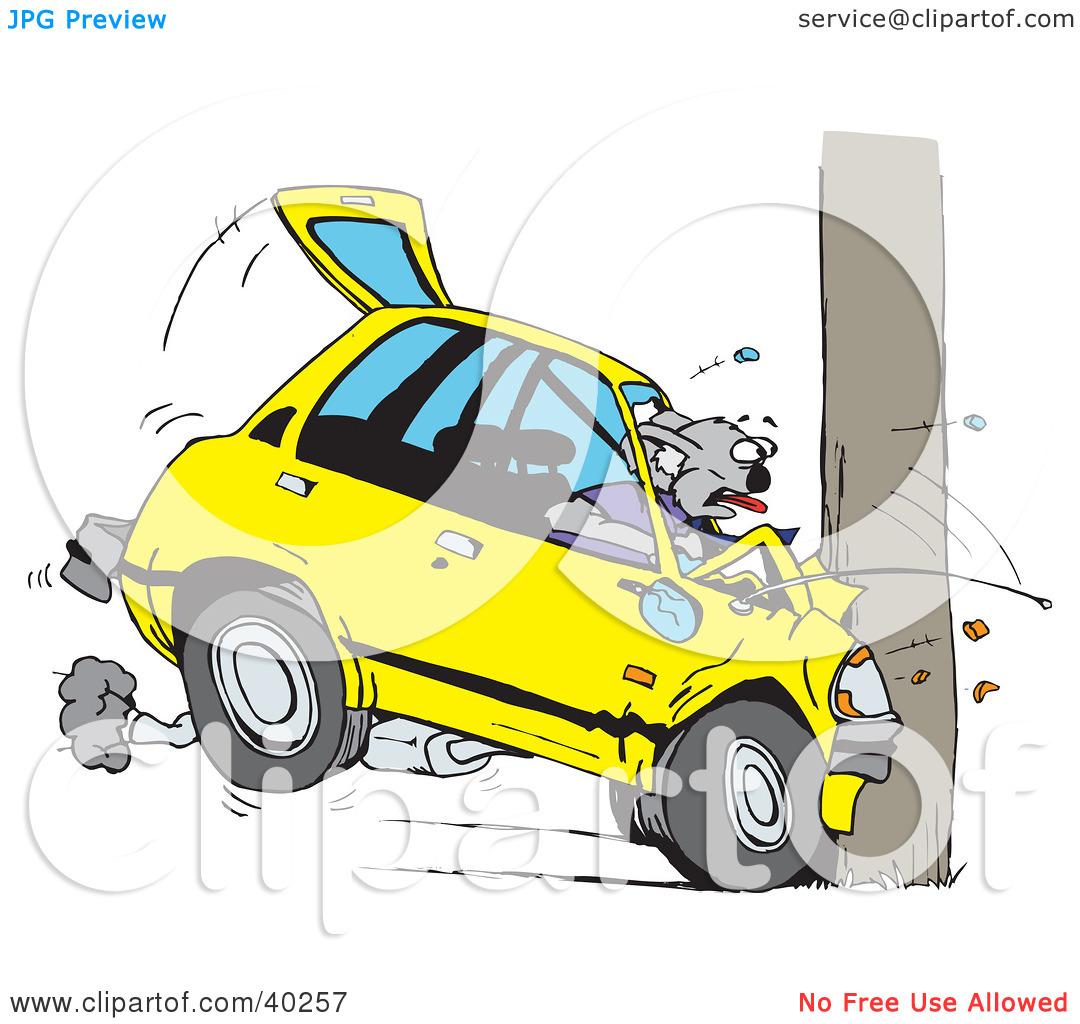 Clipart Illustration of a Koala Crashing Their Car Into A Pole by.