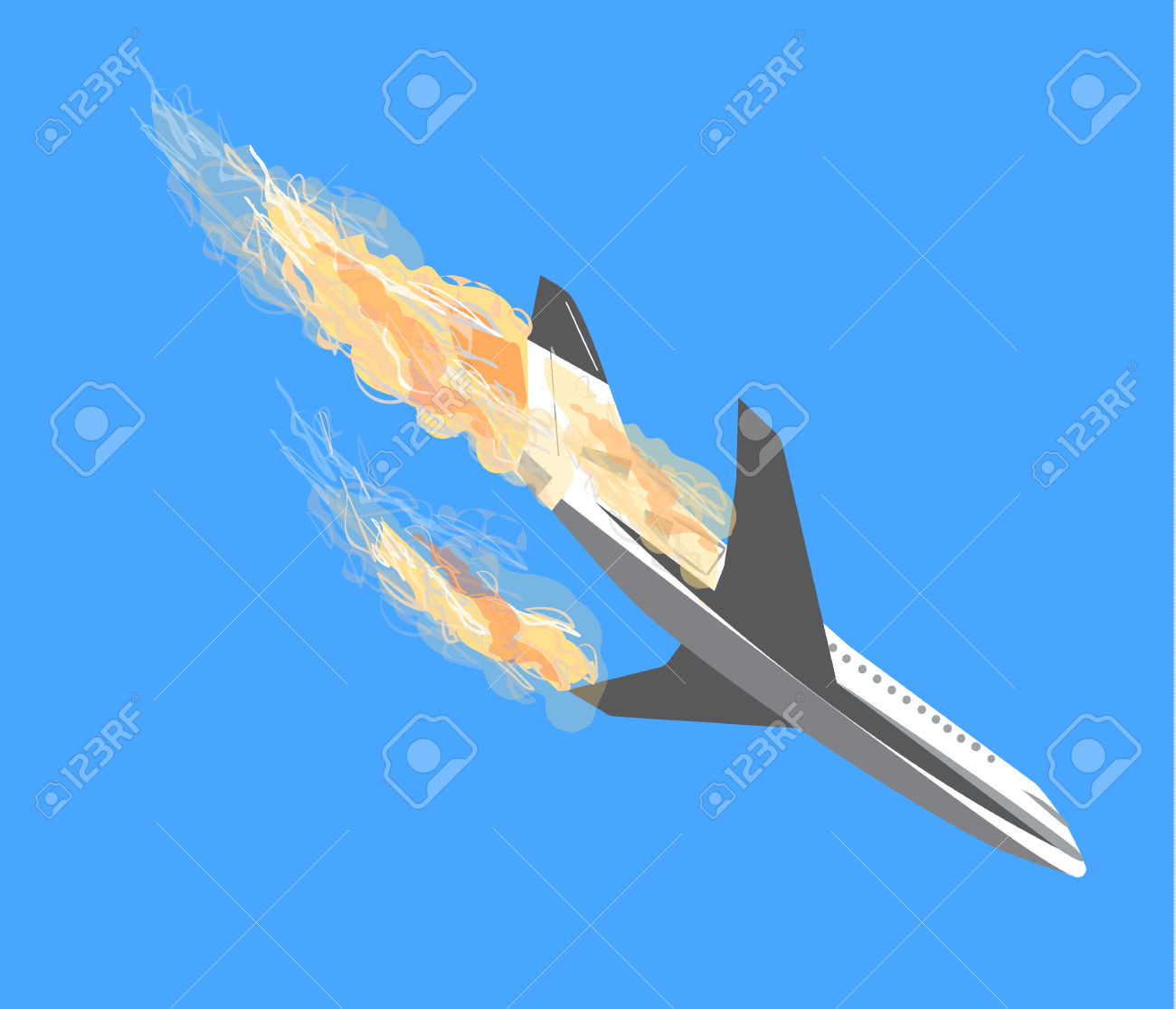 Crashing military plane clipart.