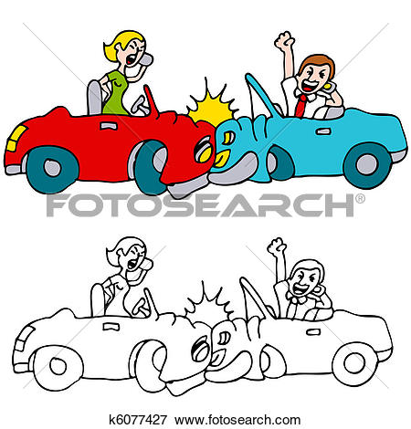 Clipart of Black Ice Accident k5266123.
