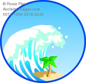 Clip Art Illustration of a Giant Wave Crashing Down On a Palm Tree.