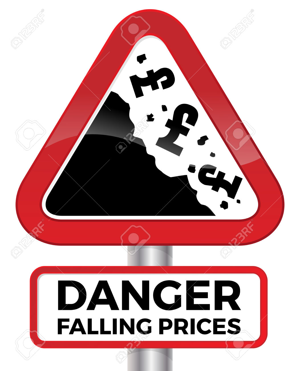 Illustration Depicting Falling Prices Represented By Tumbling.