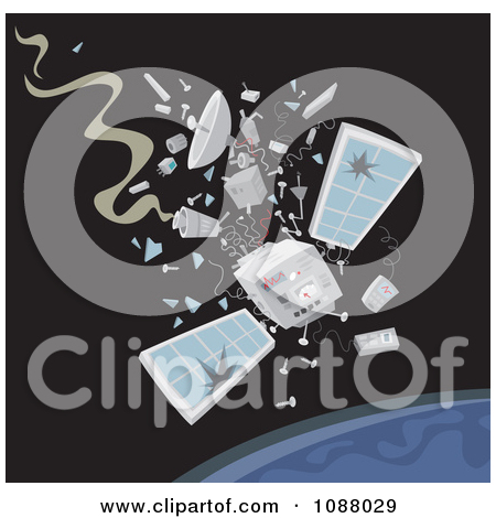 Clipart Satellite Crashing Down To Earth.