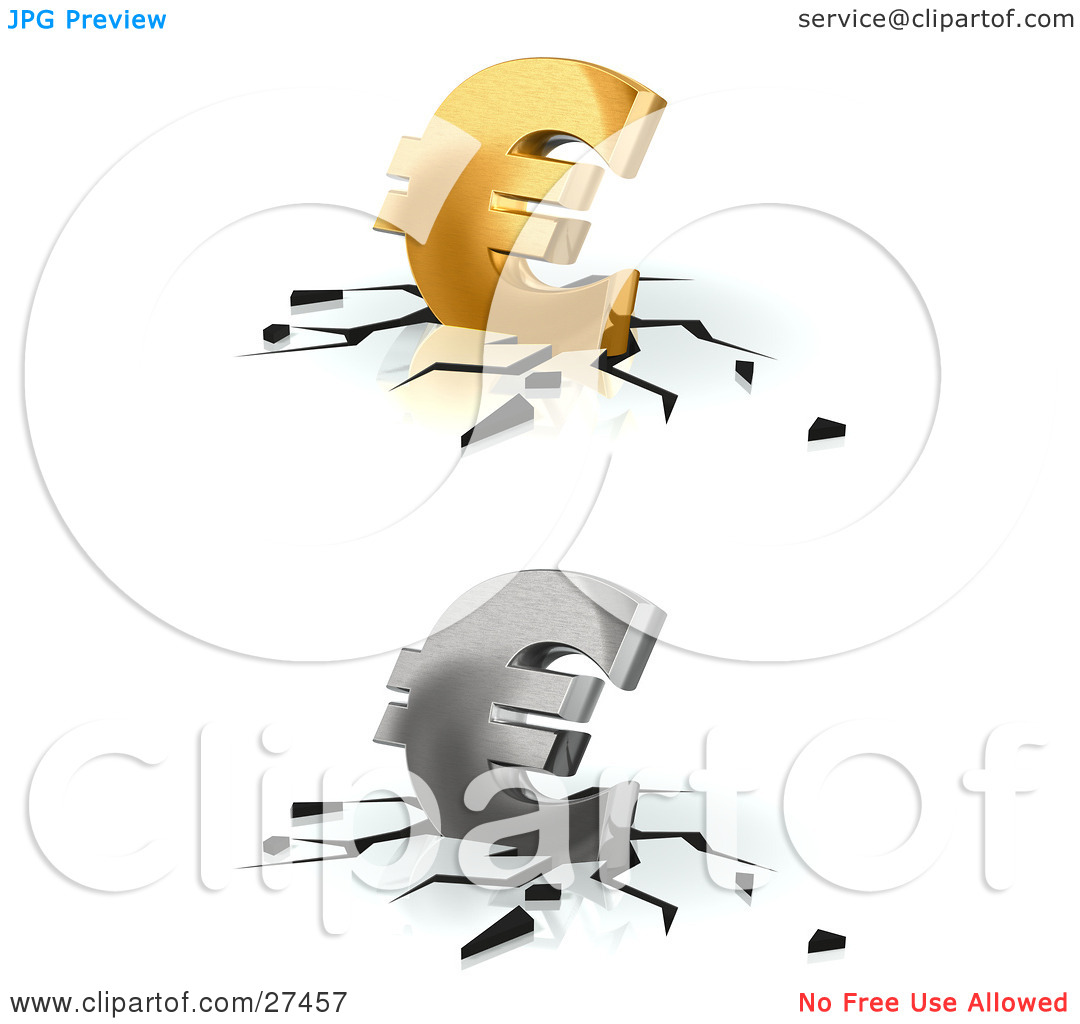 Clipart Illustration of Gold And Silver Euro Currency Signs.