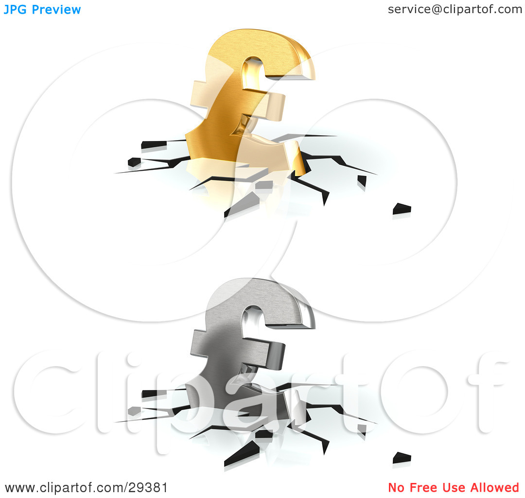 Clipart Illustration of Gold And Silver Pound Sterling Currency.