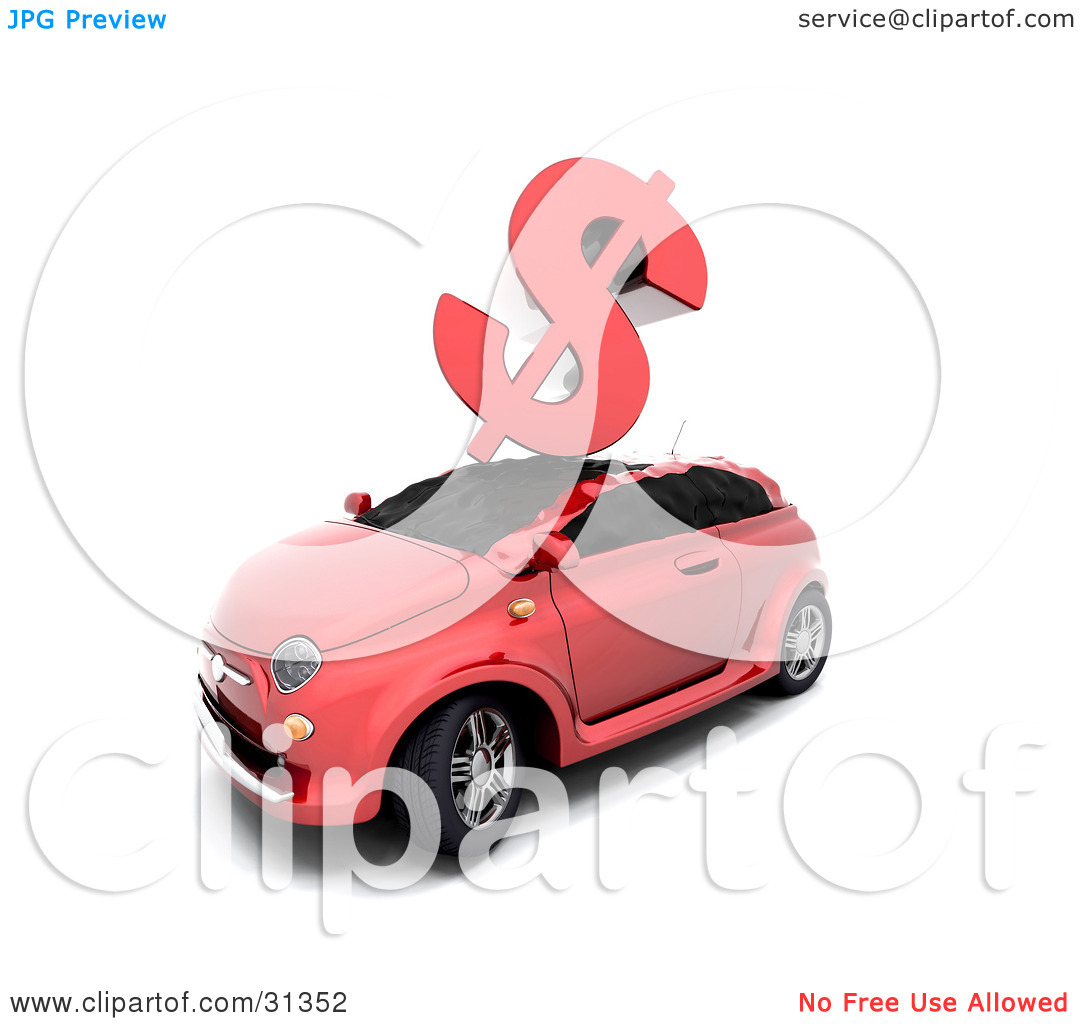 Clipart Illustration of a Red Dollar Sign Crashing Down On Top Of.