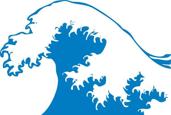 Free clipart line art crashing waves.