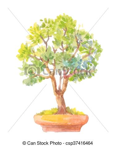 Clip Art Vector of Bonsai illustration. Watercolor illustration of.