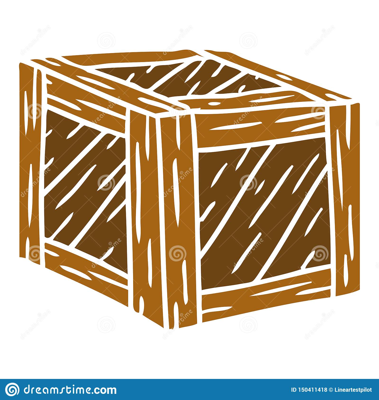 Cartoon Wooden Crate Box Wood Free Hand Drawn Doodle Clip Art.