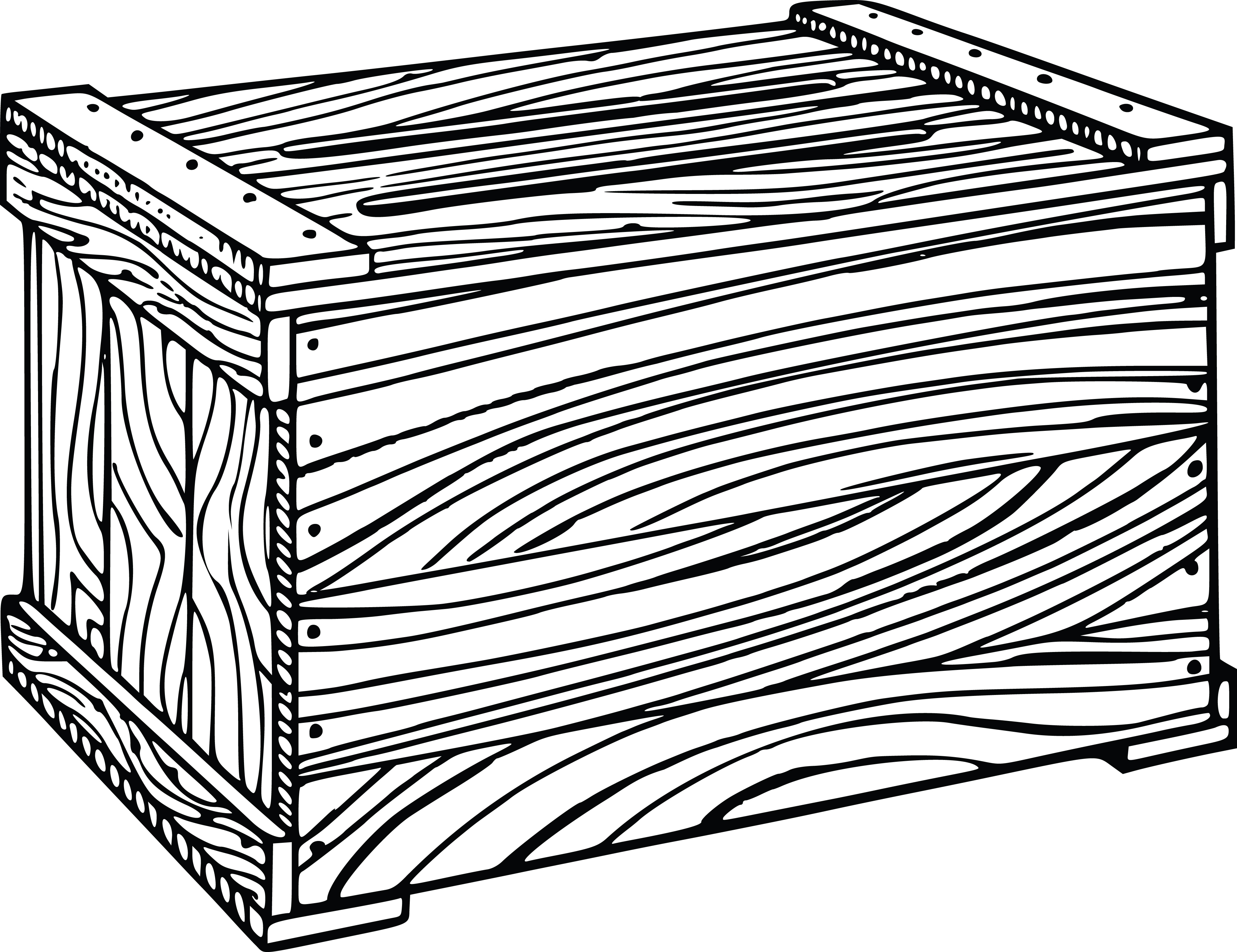 Free Clipart Of A wooden crate.