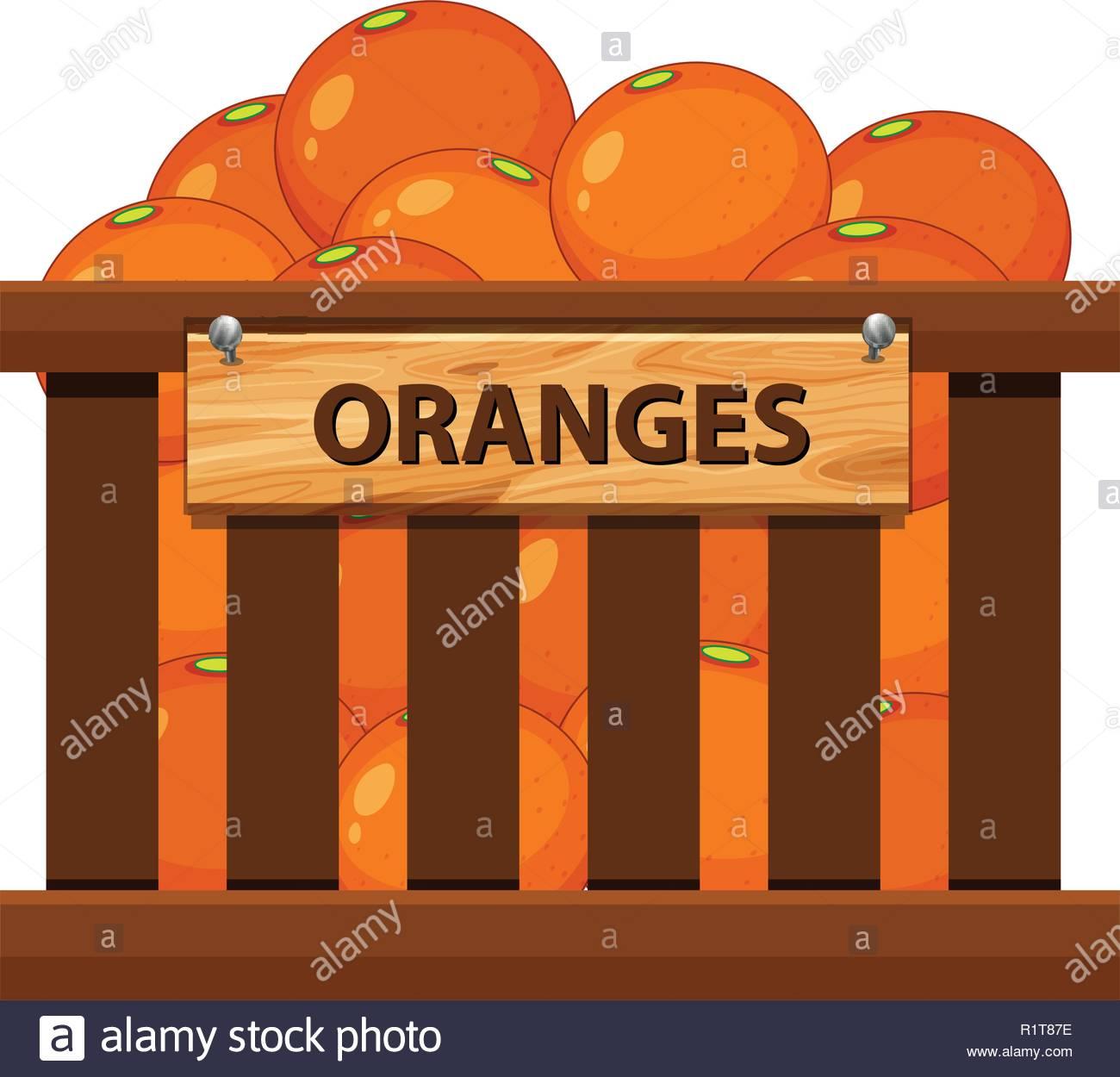 Orange in the wooden crate illustration Stock Vector Art.
