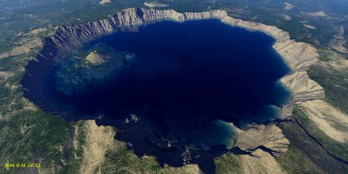 Crater Lake aerial view, Klamath County, OR by M. Giuli, 3D.