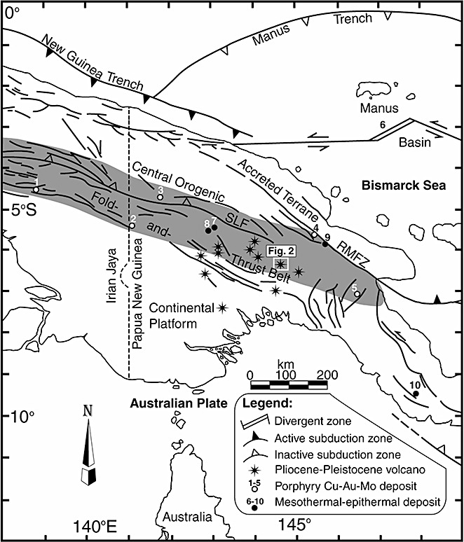 Tectonic map of Papua New Guinea showing the location of the Crater.