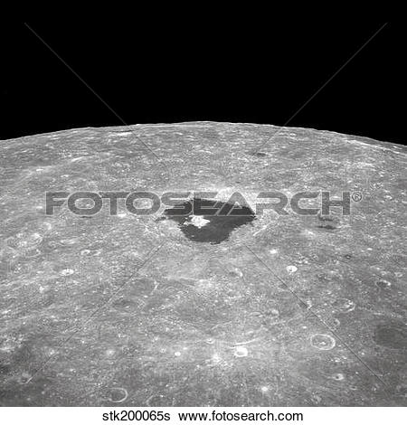 Stock Images of View of the large crater Tsiolkovsky on the lunar.