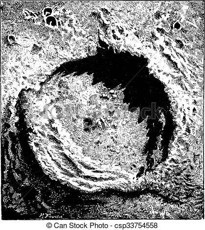 Clipart Vector of Surface of the Moon, Copernicus Impact Crater.