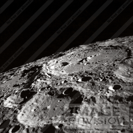 Photo of the Terraced Wall Crater on the Surface of the Moon.
